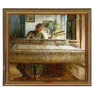 JOHANNES WILHJELM Original Oil on Canvas Painting, Anna at the Loom 1908