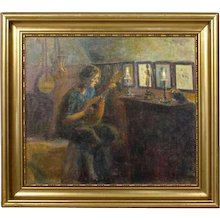 POUL FRIIS NYBO Oil on Canvas Painting, Mandolin Player