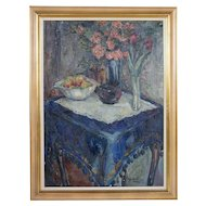SOREN HJORTH-NIELSEN Original Oil on Canvas Painting, Still Life, The Blue Tablecloth