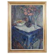SOREN HJORTH-NIELSEN Original Oil on Canvas Painting, Still Life, The Blue Tablecloth