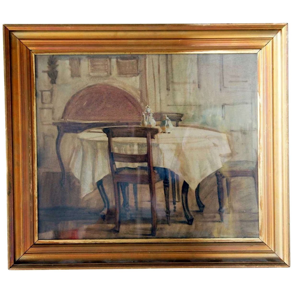 Knud Sinding Oil On Canvas Painting Interior Scene The