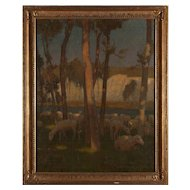 CHARLES WILLIAM BARTLETT Original Oil on Canvas Painting, Sheep Grazing near Chalk Cliffs