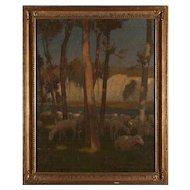 CHARLES WILLIAM BARTLETT Original Oil on Canvas Painting, Sheep Grazing near Chalk Cliffs