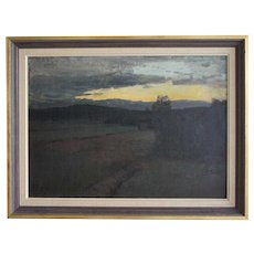 ALFRED BERGSTROM Oil on Canvas on Panel Painting, Sunset Landscape