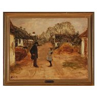HANS ANDERSEN BRENDEKILDE Oil on Canvas Painting, Village Street