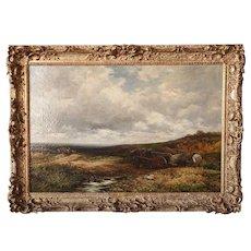 Antique English EDMUND MORRISON WIMPERIS Oil on Canvas Painting, Carts at Kingwood 1895