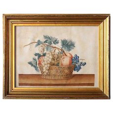 Antique American Watercolor Theorem Painting, Still Life with Fruit Basket