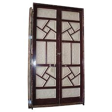 """Large Antique 116 """" Moorish Painted Carved Pine Double Door"""