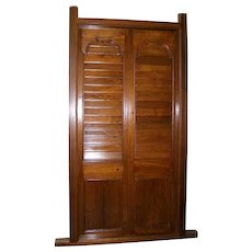 Antique Caribbean Style Teak Louvered Double Door with Frame