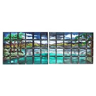 Large American Stained and Leaded Glass Landscape Window