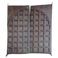 Large Indian Iron Mounted Teak Double Door Gate