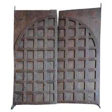 Large Indian Iron Mounted Teak Double Door Gate