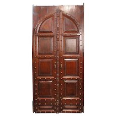 Large Indo-Portuguese Brass Nailhead Solid Rosewood Double Door