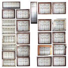 Set of 24 American Prairie School Stained Glass Windows