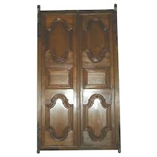 Antique Pair of  Indo-Portuguese Deeply Paneled Heavy Solid Teak Double Doors 18th/19th century