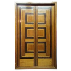 Modernist Teak and Rosewood Paneled Double Door with Frame