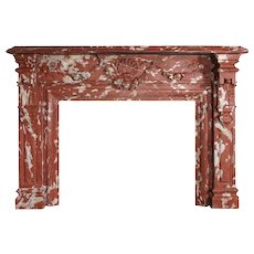 French Louis XIV Style Red Languedoc Marble Fireplace Surround