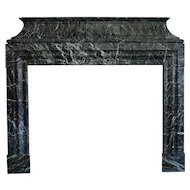 French Jules Cantini Louis XIV Style Vert de Mer Marble Fireplace Surround