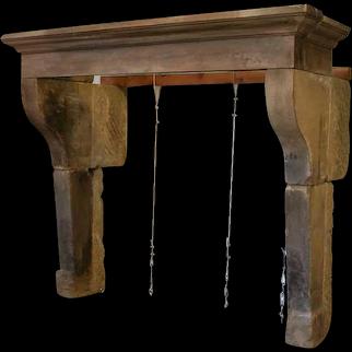 Large French Louis XIII Limestone Fireplace Surround Mantel