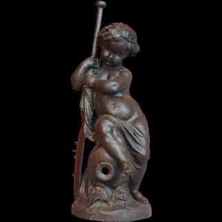 MATHURIN MOREAU Val d'Osne Patinated Iron Fountainhead Figure, Enfant a la Rame