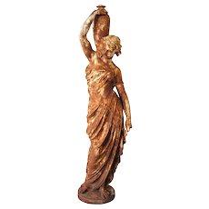 After MATHURIN MOREAU Cast Iron Standing Female Statuary Figure