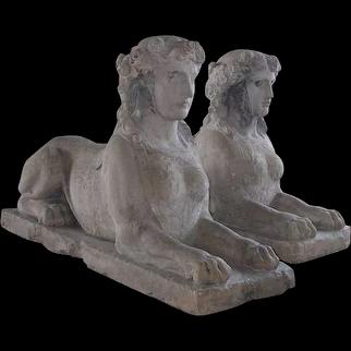 Pair of French Louis XVI Limestone Sphinx Garden Statuary