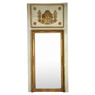 French Louis XVI Pine and Gesso Boiserie Trumeau Mirror