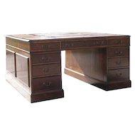 English George III Style Walnut Veneer Partners Desk