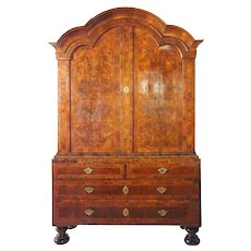 Danish Baroque Burl Walnut Veneer Linen Press