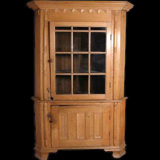 Important American Federal Pine Glazed Door Corner Cabinet
