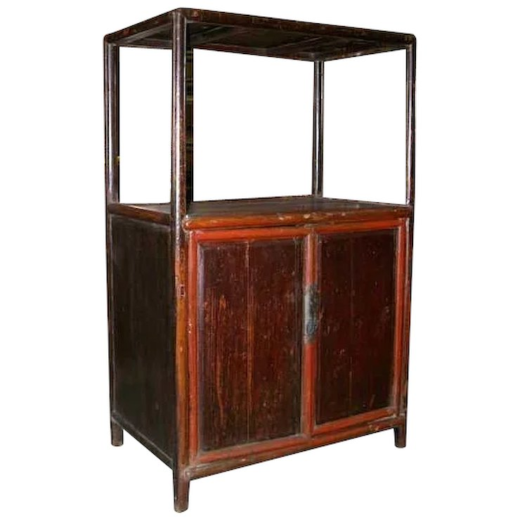 Chinese Fujian Elm And Pine Open Display Cabinet
