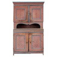 Swedish Dalarna Painted Pine Step-back Kitchen Cabinet