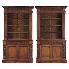 Pair of Italian Renaissance Revival Walnut Bookcases