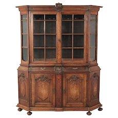 Dutch Baroque Inlaid Oak Glass Display Cabinet