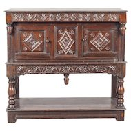 English Baroque Oak Court Cupboard