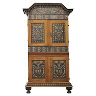 Swedish Dalarna Region Painted Pine Stepback Cabinet