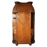 Large French Louis Majorelle Art Nouveau Quarter Sawn White Oak Cabinet