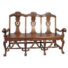 Indo-Portuguese Rosewood Three-Seat Settee