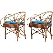 Pair of Swedish Rustic Birch Twig Veranda Armchairs