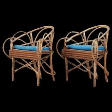 Pair of Swedish Rustic Birch Twig Veranda Armchairs