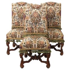 """Set of Six French Louis XIV Style Beechwood and Needlepoint Dining Chairs from """"Rose Terrace"""" Mansion"""