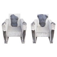 CAROLYN BRAAKSMA Pair of Cast Concrete Sculptures, Leg and Arm Chairs
