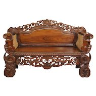 Anglo Indian Burmese Caned Rosewood Settee