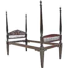 Anglo Indian Rosewood Four-Poster Bed