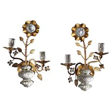 Pair French Maison Bagues Gilt Iron and Crystal Flower-Form Two-Light Sconces