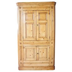 English George IV Pine and Painted Corner Cupboard