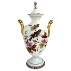 Large Antique English Victorian Bristol Enamel Painted Opalescent Glass Covered Urn