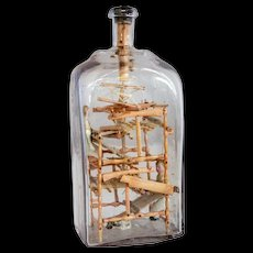 Swedish Folk Art Whimsey Bottle with Miniature Loom and Dolls