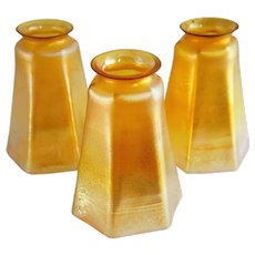 Set of Three American Tiffany Gold Favrile Glass Lamp Shades