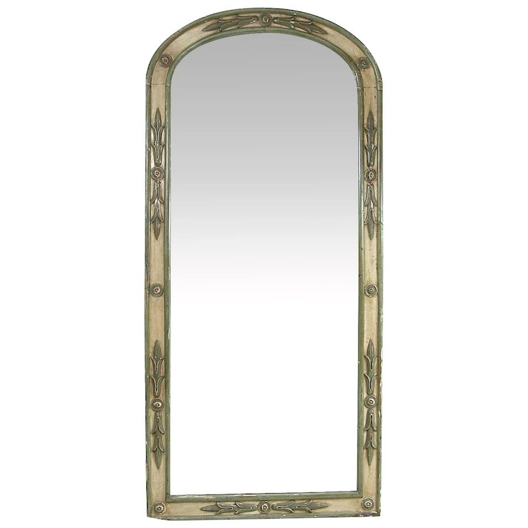 French Provincial Directoire Style Painted Arched Pier Mirror Eron